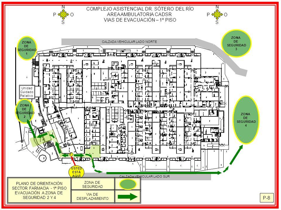 CALZADA VEHICULAR LADO NORTE Unidad Cuidado Paliativo ZONA DE SEGURIDAD 2 ZONA DE SEGURIDAD 1 ZONA DE SEGURIDAD 4 CALZADA VEHICULAR LADO SUR ZONA DE SEGURIDAD 3 USTED ESTÁ AQUÍ F COMPLEJO ASISTENCIAL DR.