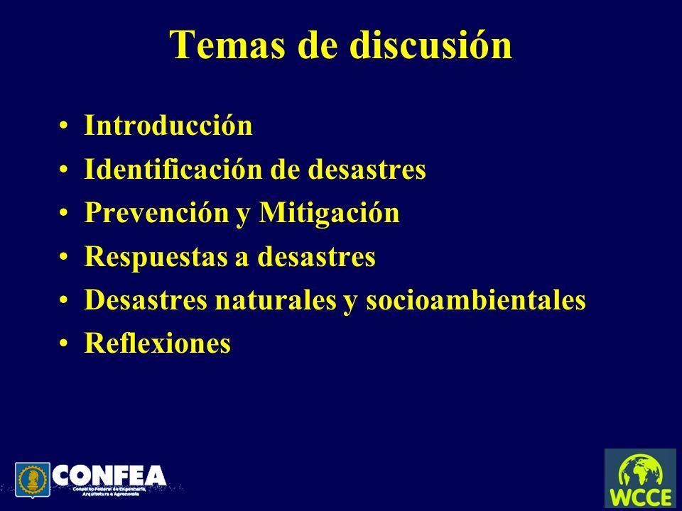 Temas de discusión Introducción Identificación de desastres Prevención y Mitigación Respuestas a desastres Desastres naturales y socioambientales Refl