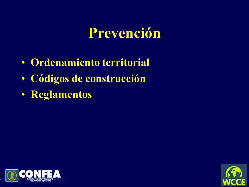 Prevención Ordenamiento territorial Códigos de construcción Reglamentos