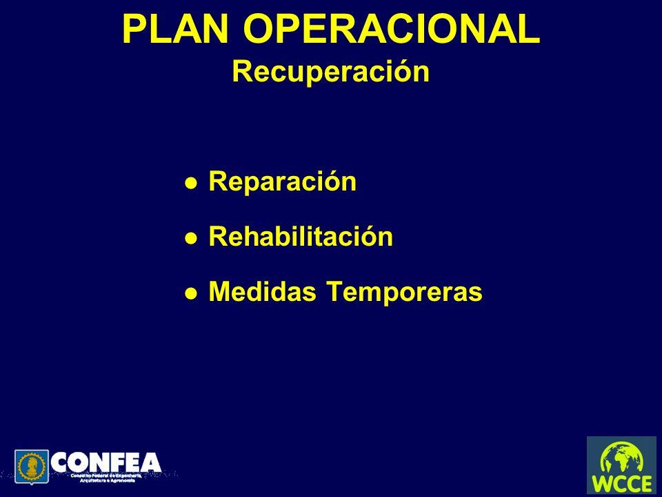 PLAN OPERACIONAL Recuperación l Reparación l Rehabilitación l Medidas Temporeras