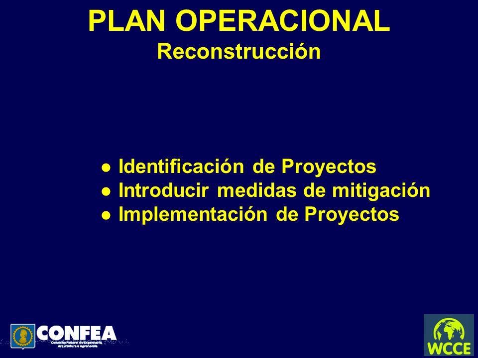 PLAN OPERACIONAL Reconstrucción l Identificación de Proyectos l Introducir medidas de mitigación l Implementación de Proyectos