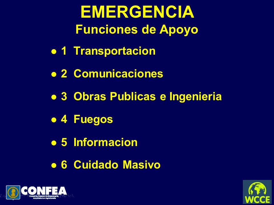 EMERGENCIA Funciones de Apoyo l 1 Transportacion l 2 Comunicaciones l 3 Obras Publicas e Ingenieria l 4 Fuegos l 5 Informacion l 6 Cuidado Masivo