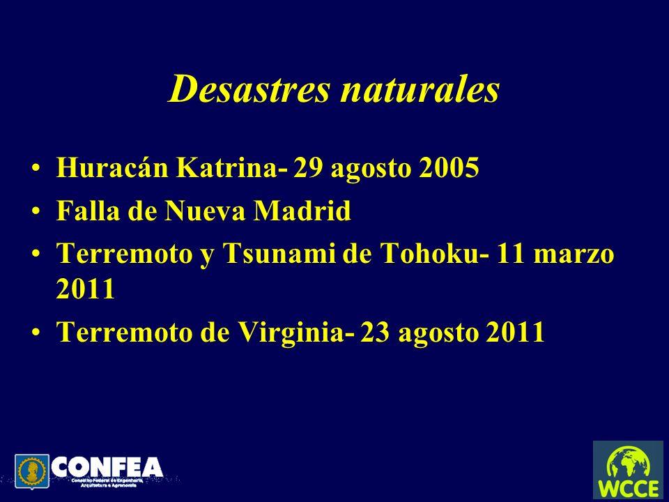 Desastres naturales Huracán Katrina- 29 agosto 2005 Falla de Nueva Madrid Terremoto y Tsunami de Tohoku- 11 marzo 2011 Terremoto de Virginia- 23 agost