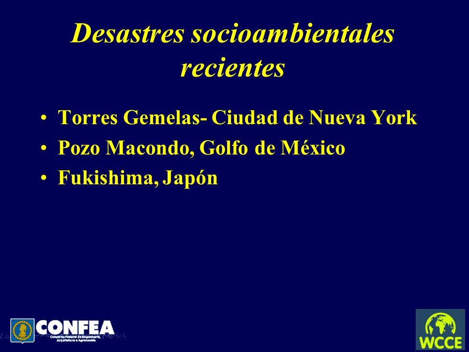 Desastres socioambientales recientes Torres Gemelas- Ciudad de Nueva York Pozo Macondo, Golfo de México Fukishima, Japón