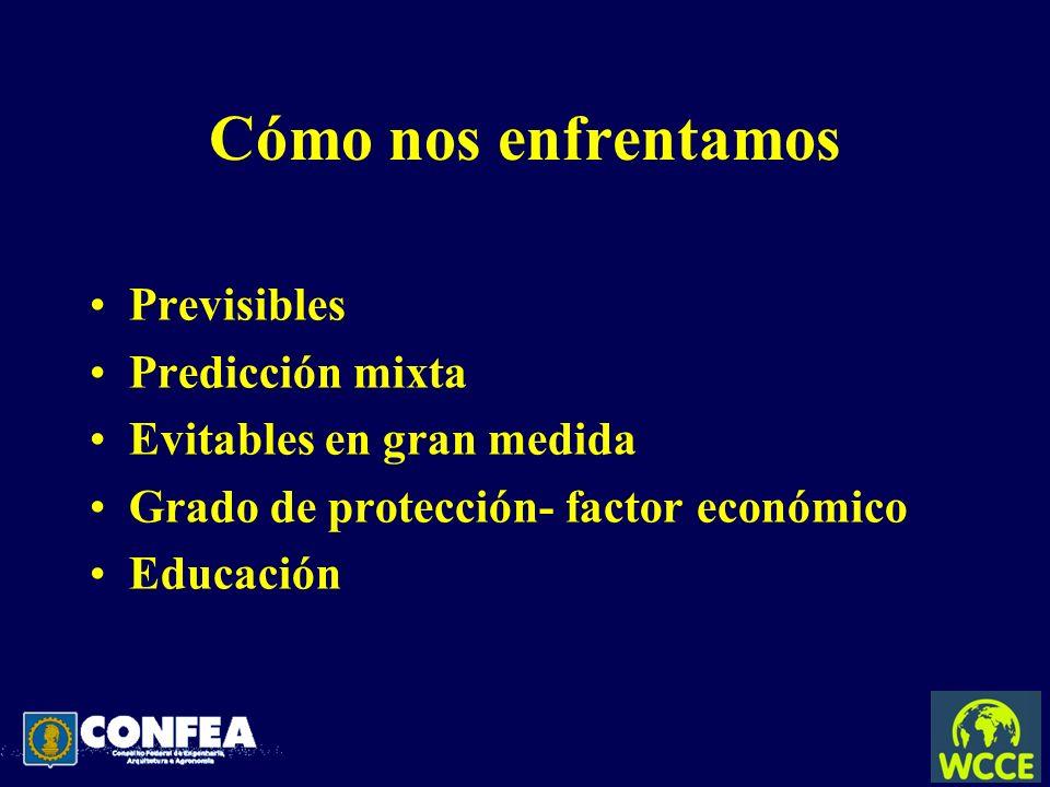 Cómo nos enfrentamos Previsibles Predicción mixta Evitables en gran medida Grado de protección- factor económico Educación