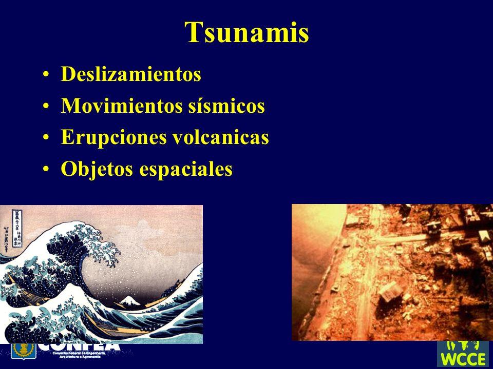 Tsunamis Deslizamientos Movimientos sísmicos Erupciones volcanicas Objetos espaciales