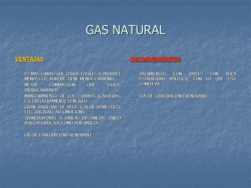 GAS NATURAL VENTAJAS ES MAS LIMPIO QUE OTROS FOSILES Y PRODUCE MENOS CO2, PORQUE TIENE MENOS CARBONO ES MAS LIMPIO QUE OTROS FOSILES Y PRODUCE MENOS C