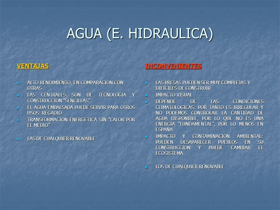 AGUA (E. HIDRAULICA) VENTAJAS ALTO RENDIMIENTO, EN COMPARACION CON OTRAS ALTO RENDIMIENTO, EN COMPARACION CON OTRAS LAS CENTRALES SON DE TECNOLOGIA Y