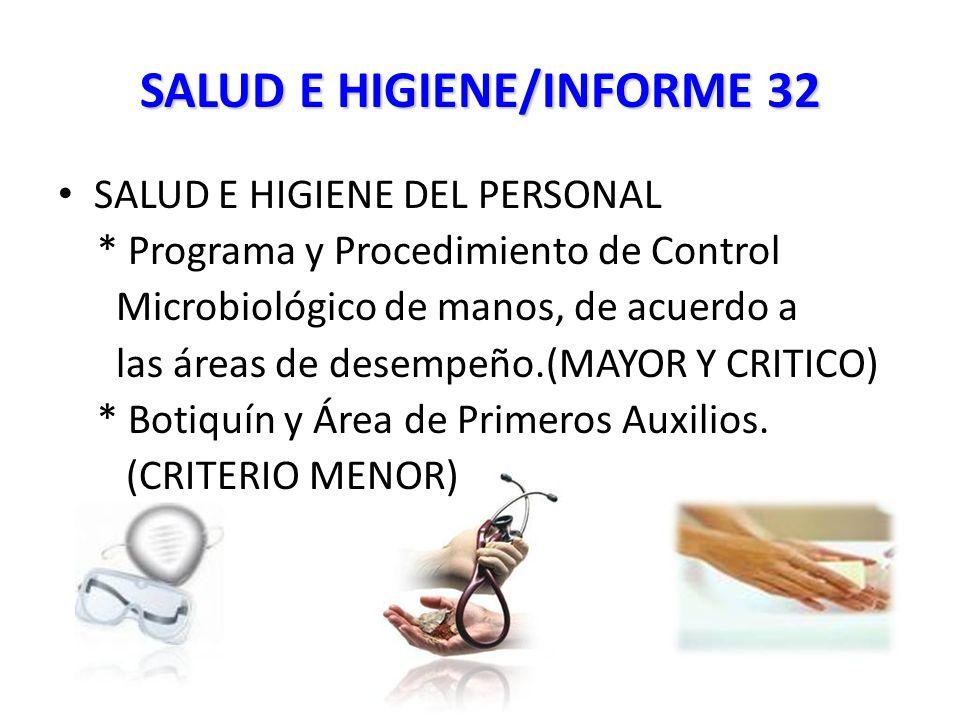 SALUD E HIGIENE/INFORME 32 SALUD E HIGIENE DEL PERSONAL * Programa y Procedimiento de Control Microbiológico de manos, de acuerdo a las áreas de desempeño.(MAYOR Y CRITICO) * Botiquín y Área de Primeros Auxilios.