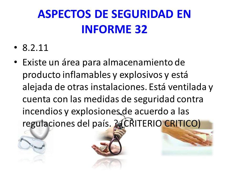 ASPECTOS DE SEGURIDAD EN INFORME 32 8.2.11 Existe un área para almacenamiento de producto inflamables y explosivos y está alejada de otras instalaciones.