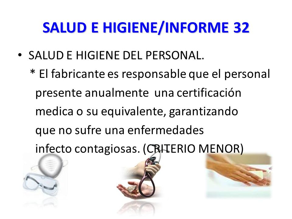 SALUD E HIGIENE/INFORME 32 SALUD E HIGIENE DEL PERSONAL.