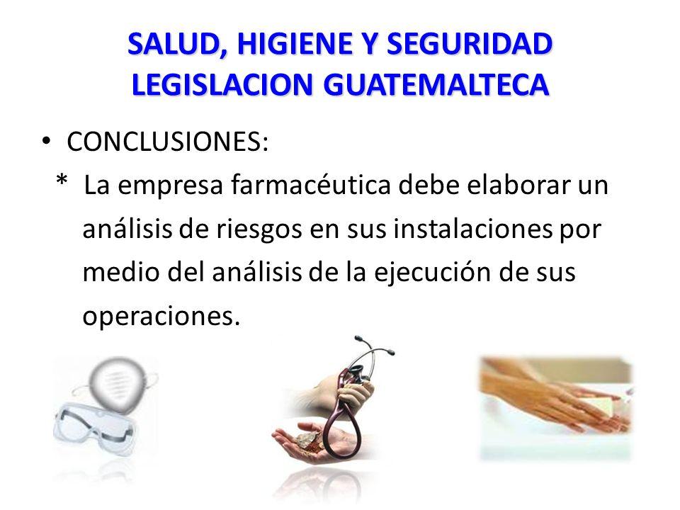 SALUD, HIGIENE Y SEGURIDAD LEGISLACION GUATEMALTECA CONCLUSIONES: * La empresa farmacéutica debe elaborar un análisis de riesgos en sus instalaciones por medio del análisis de la ejecución de sus operaciones.