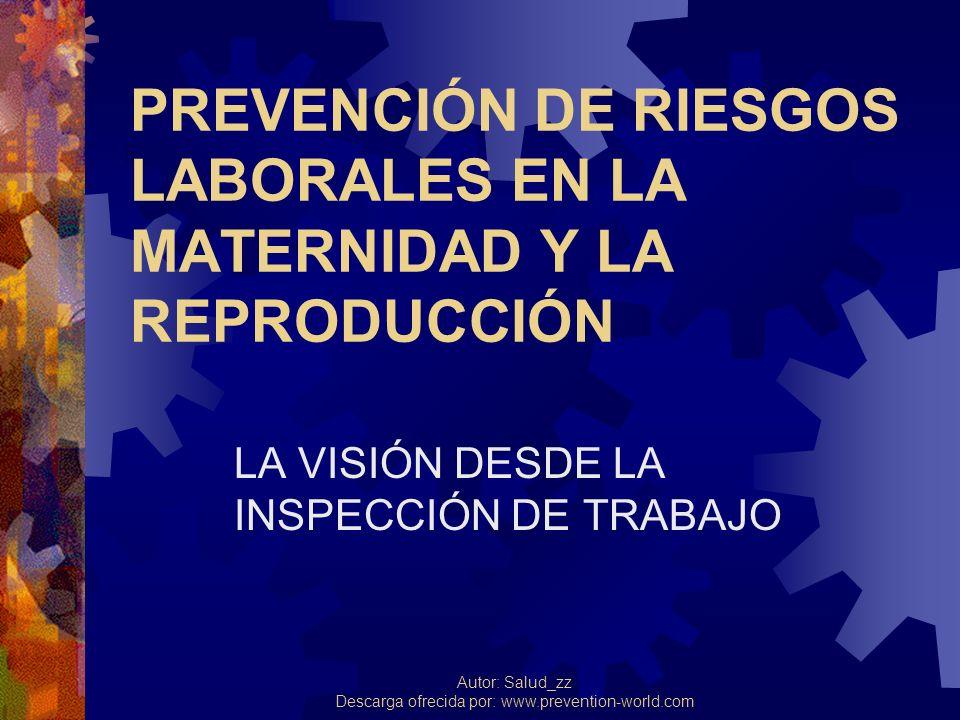Autor: Salud_zz Descarga ofrecida por: www.prevention-world.com PREVENCIÓN DE RIESGOS LABORALES EN LA MATERNIDAD Y LA REPRODUCCIÓN LA VISIÓN DESDE LA