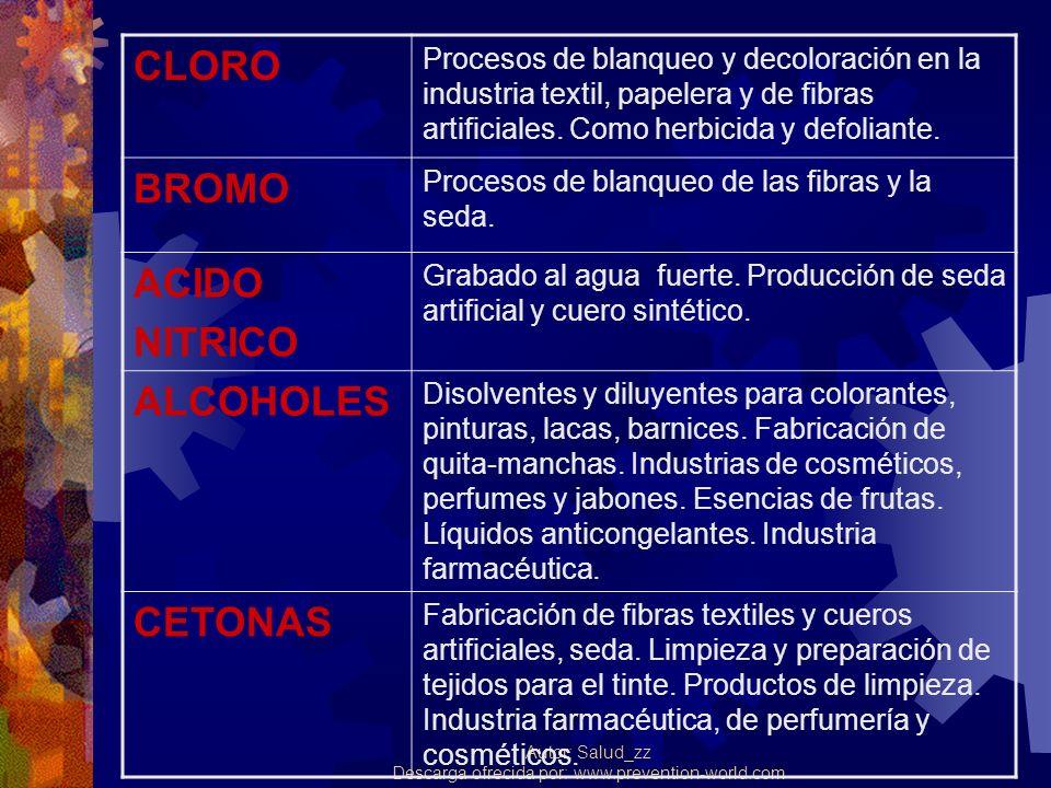 Autor: Salud_zz Descarga ofrecida por: www.prevention-world.com CLORO Procesos de blanqueo y decoloración en la industria textil, papelera y de fibras