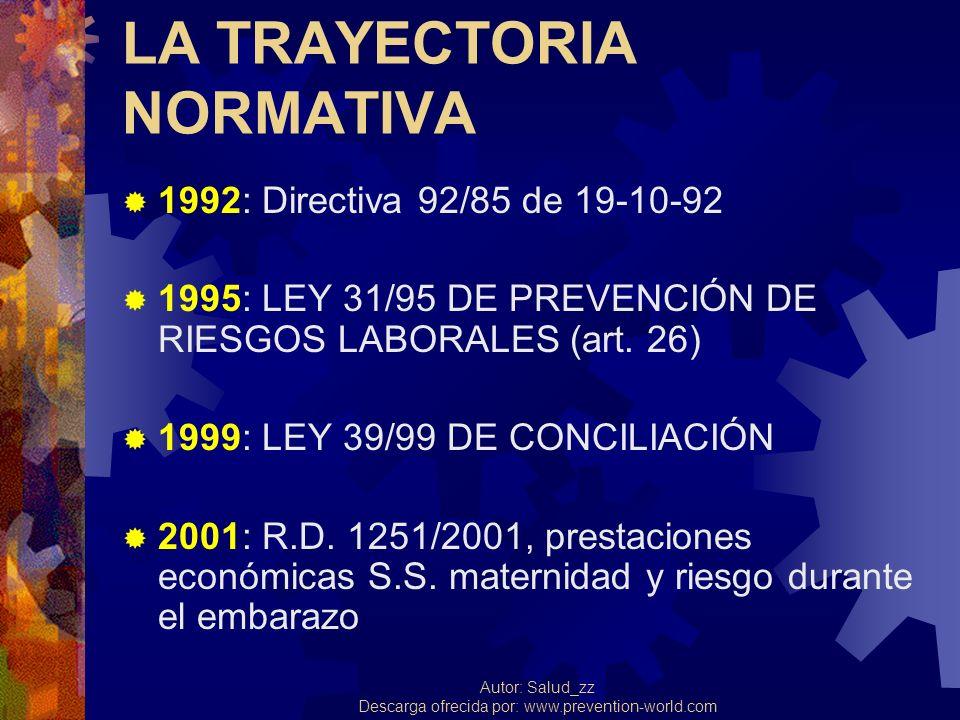 Autor: Salud_zz Descarga ofrecida por: www.prevention-world.com LA TRAYECTORIA NORMATIVA 1992: Directiva 92/85 de 19-10-92 1995: LEY 31/95 DE PREVENCI