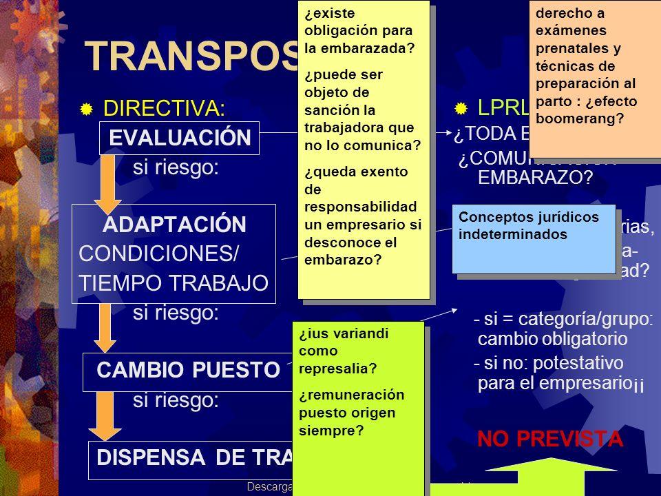 Autor: Salud_zz Descarga ofrecida por: www.prevention-world.com TRANSPOSICIÓN DIRECTIVA: EVALUACIÓN si riesgo: ADAPTACIÓN CONDICIONES/ TIEMPO TRABAJO