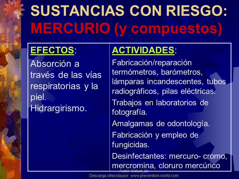 Autor: Salud_zz Descarga ofrecida por: www.prevention-world.com PLOMO (y derivados) EFECTOS: Se absorbe por múltiples vías; se deposita en huesos, sangre, orina.
