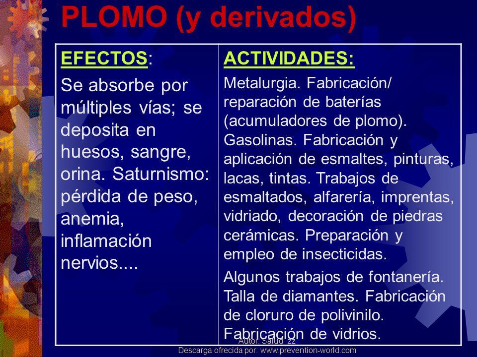 Autor: Salud_zz Descarga ofrecida por: www.prevention-world.com PLOMO (y derivados) EFECTOS: Se absorbe por múltiples vías; se deposita en huesos, san