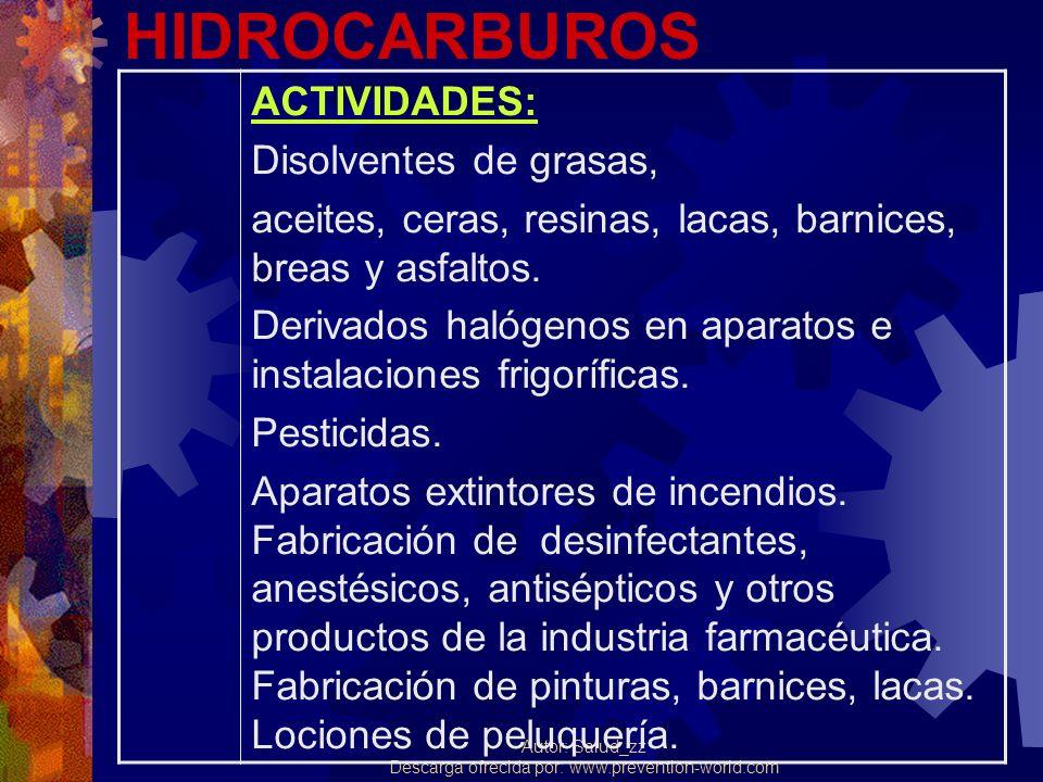 Autor: Salud_zz Descarga ofrecida por: www.prevention-world.com HIDROCARBUROS ACTIVIDADES: Disolventes de grasas, aceites, ceras, resinas, lacas, barn