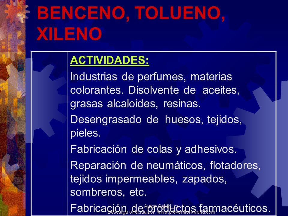 Autor: Salud_zz Descarga ofrecida por: www.prevention-world.com BENCENO, TOLUENO, XILENO ACTIVIDADES: Industrias de perfumes, materias colorantes. Dis