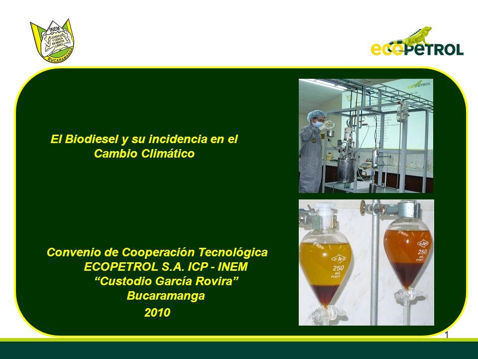 1 El Biodiesel y su incidencia en el Cambio Climático Convenio de Cooperación Tecnológica ECOPETROL S.A. ICP - INEM Custodio García Rovira Bucaramanga