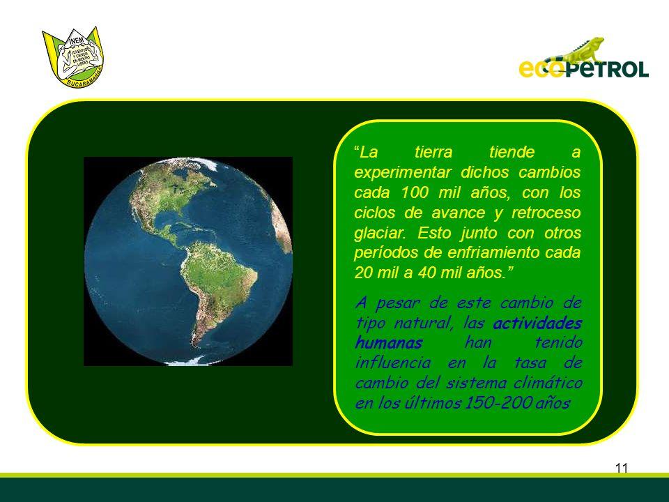11 La tierra tiende a experimentar dichos cambios cada 100 mil años, con los ciclos de avance y retroceso glaciar. Esto junto con otros períodos de en