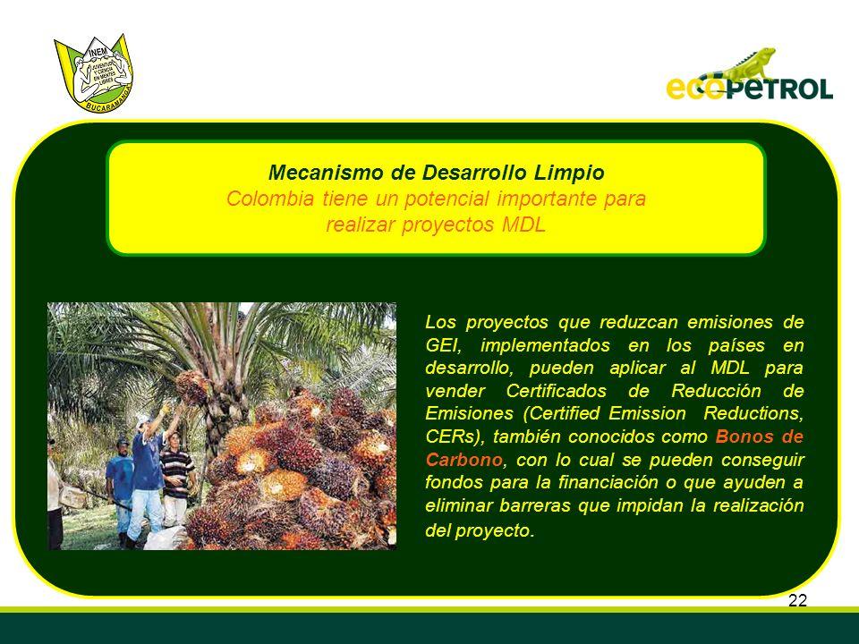 22 Los proyectos que reduzcan emisiones de GEI, implementados en los países en desarrollo, pueden aplicar al MDL para vender Certificados de Reducción