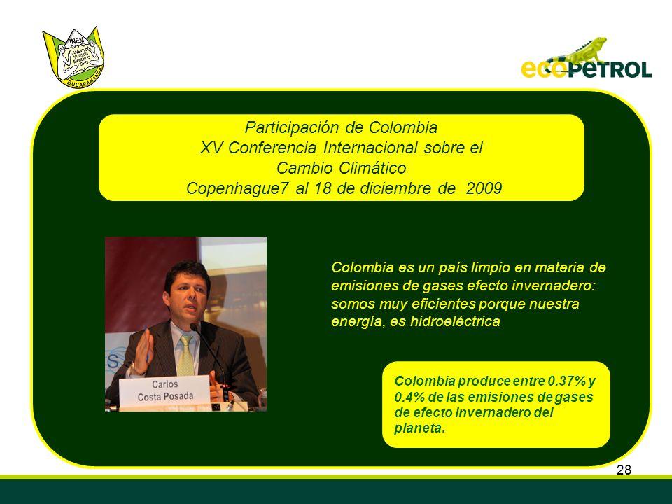28 Colombia produce entre 0.37% y 0.4% de las emisiones de gases de efecto invernadero del planeta. Colombia es un país limpio en materia de emisiones