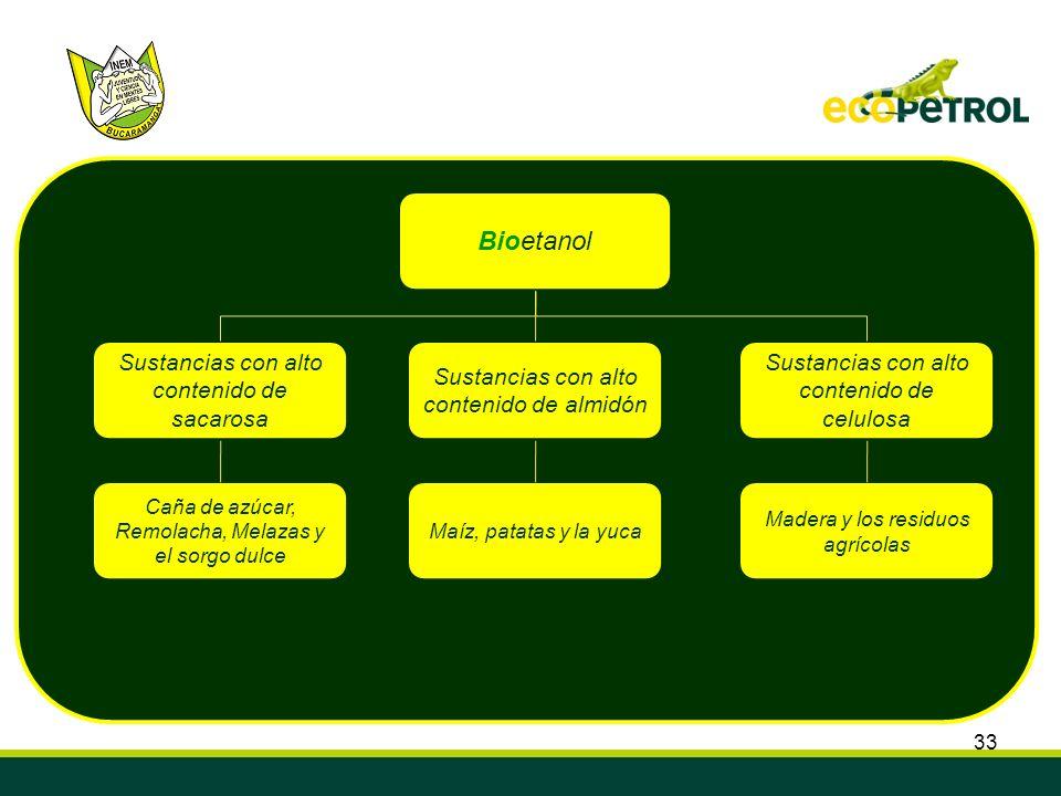 33 Bioetanol Sustancias con alto contenido de almidón Sustancias con alto contenido de sacarosa Sustancias con alto contenido de celulosa Caña de azúc