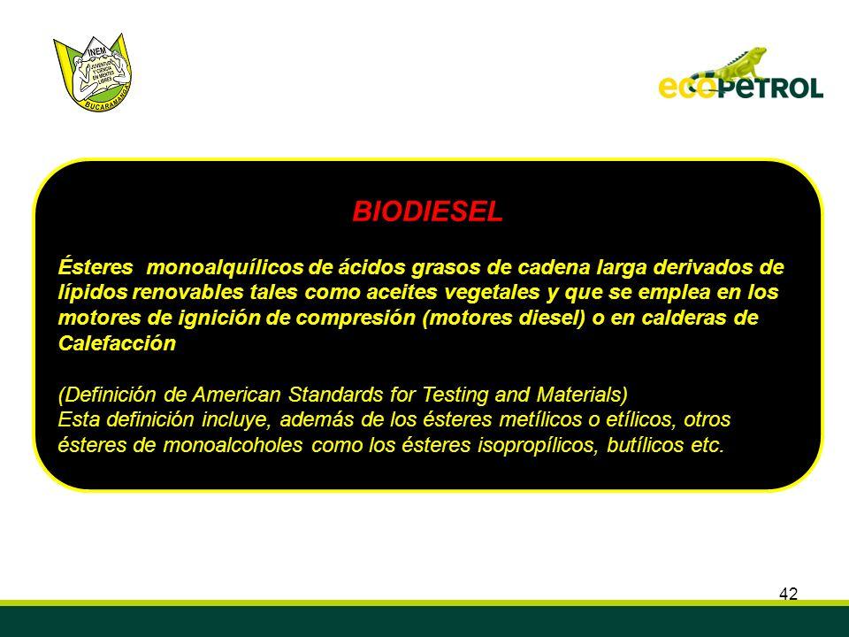 42 BIODIESEL Ésteres monoalquílicos de ácidos grasos de cadena larga derivados de lípidos renovables tales como aceites vegetales y que se emplea en l