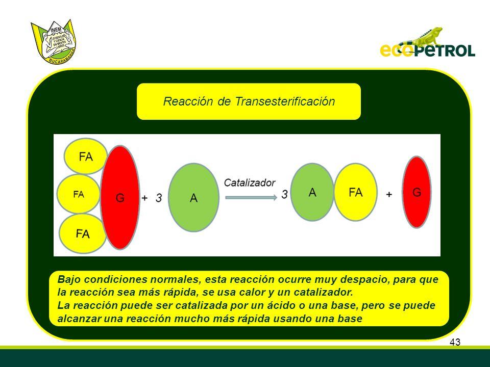 43 Reacción de Transesterificación Bajo condiciones normales, esta reacción ocurre muy despacio, para que la reacción sea más rápida, se usa calor y u