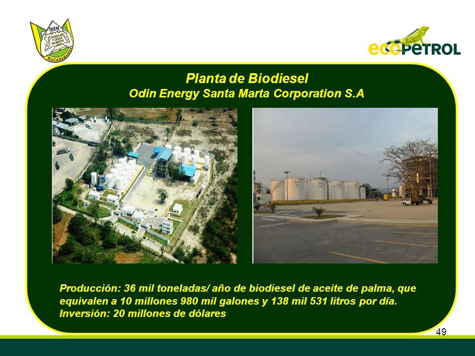 49 Producción: 36 mil toneladas/ año de biodiesel de aceite de palma, que equivalen a 10 millones 980 mil galones y 138 mil 531 litros por día. Invers