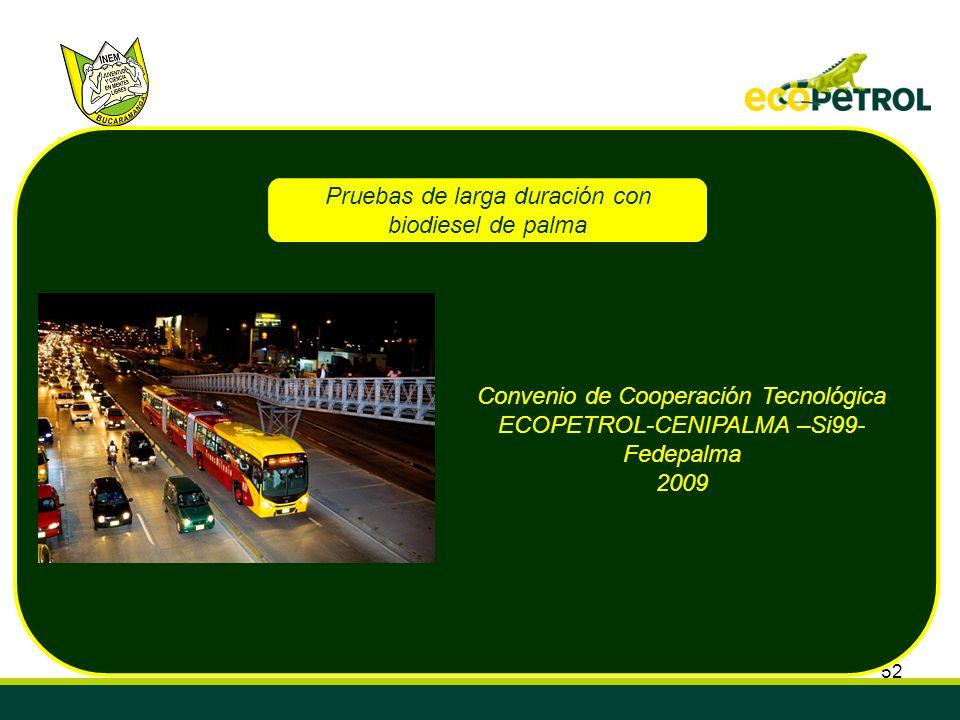 52 Pruebas de larga duración con biodiesel de palma Convenio de Cooperación Tecnológica ECOPETROL-CENIPALMA –Si99- Fedepalma 2009