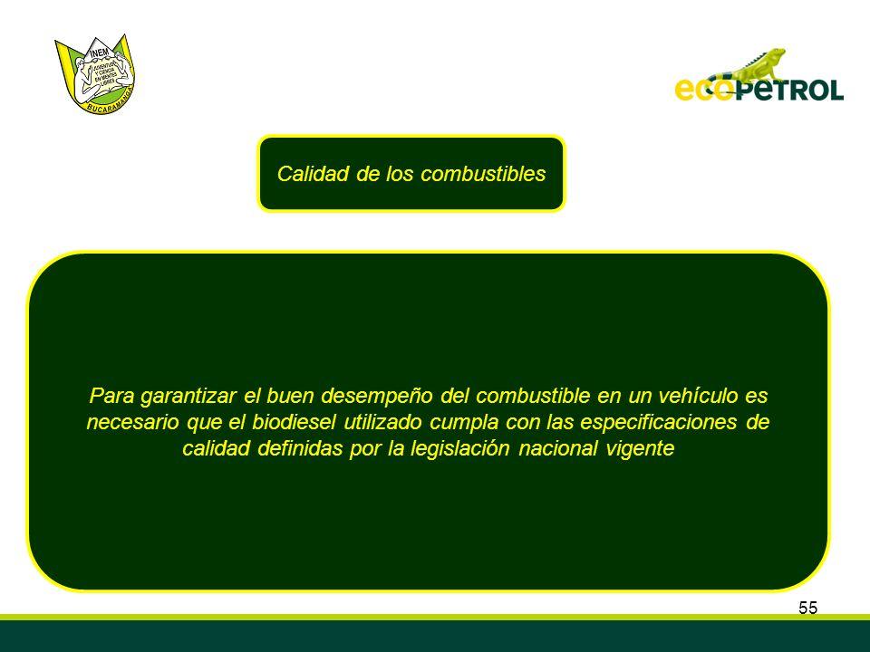 55 Calidad de los combustibles Para garantizar el buen desempeño del combustible en un vehículo es necesario que el biodiesel utilizado cumpla con las