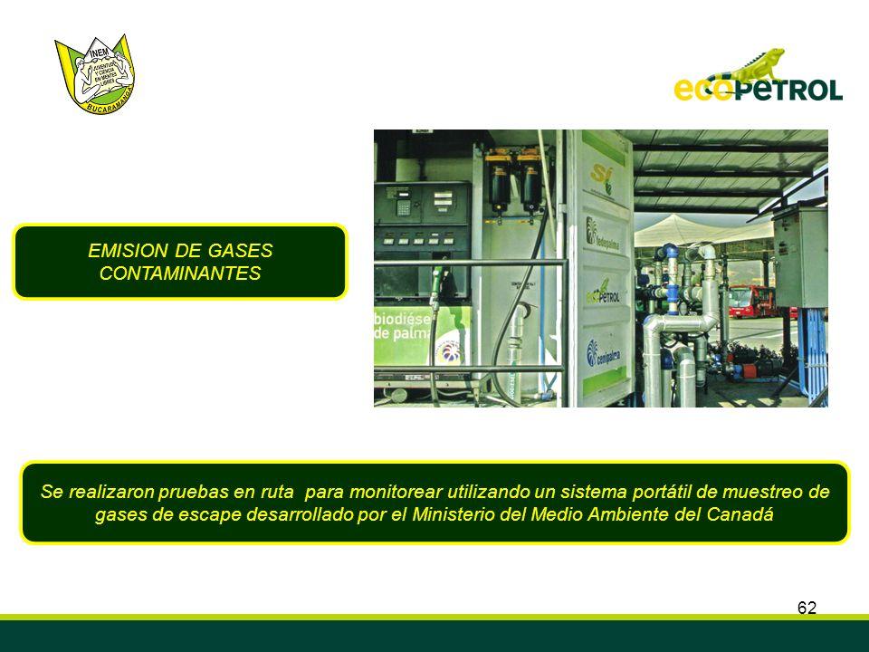 62 EMISION DE GASES CONTAMINANTES Se realizaron pruebas en ruta para monitorear utilizando un sistema portátil de muestreo de gases de escape desarrol