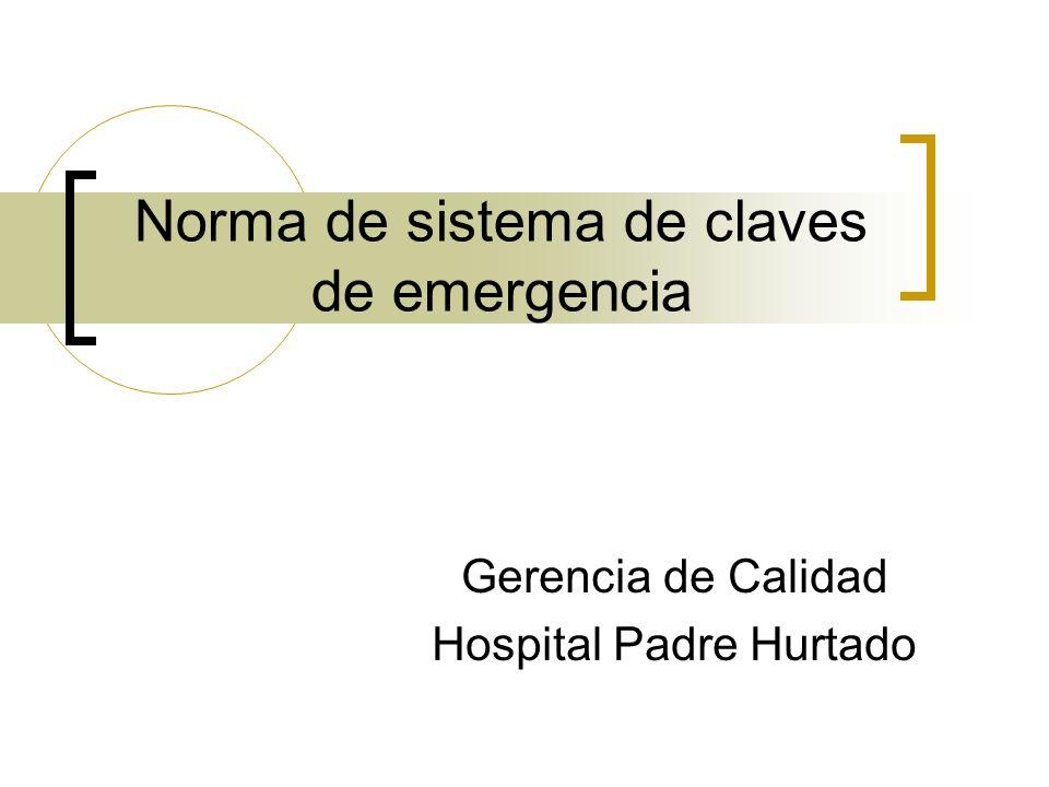 Norma de sistema de claves de emergencia Gerencia de Calidad Hospital Padre Hurtado