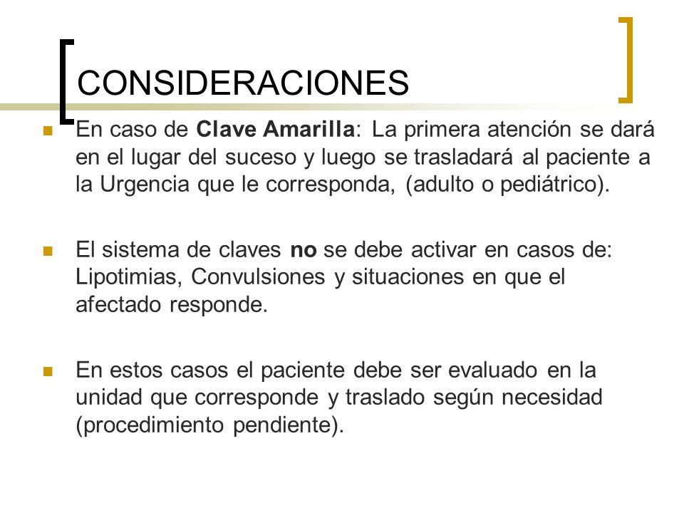 CONSIDERACIONES En caso de Clave Amarilla: La primera atención se dará en el lugar del suceso y luego se trasladará al paciente a la Urgencia que le c
