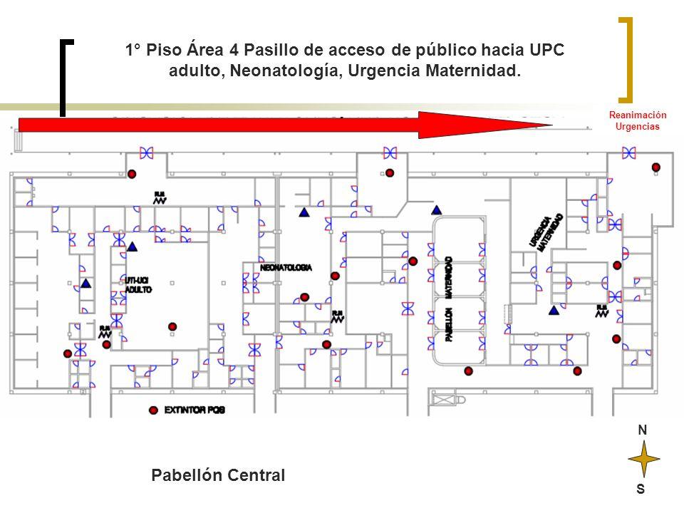 N S 1° Piso Área 4 Pasillo de acceso de público hacia UPC adulto, Neonatología, Urgencia Maternidad. Reanimación Urgencias Pabellón Central