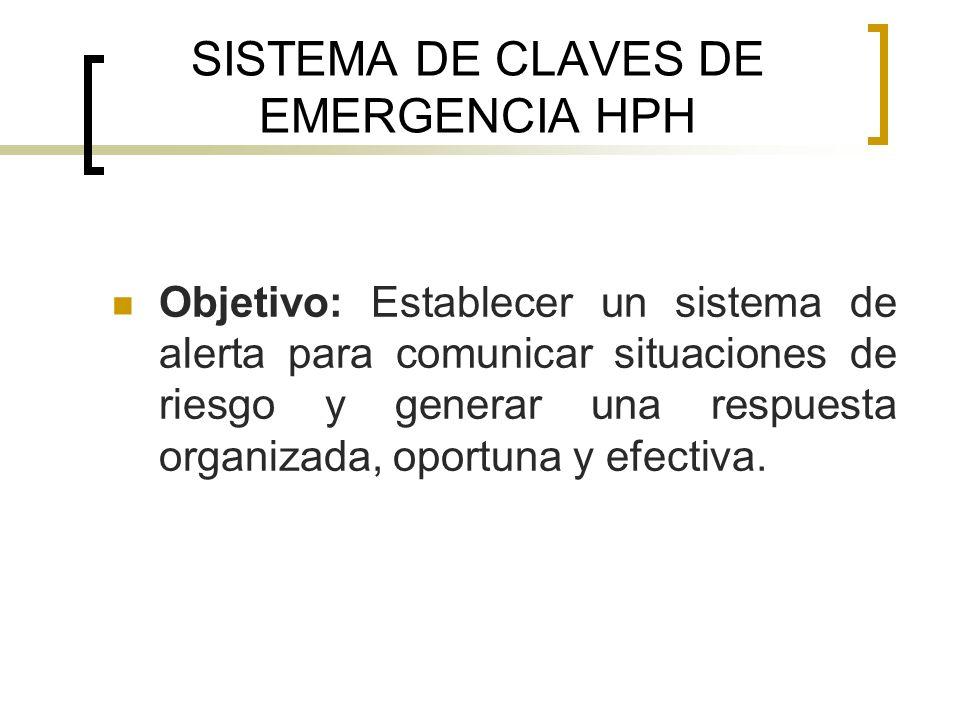 SISTEMA DE CLAVES DE EMERGENCIA HPH Objetivo: Establecer un sistema de alerta para comunicar situaciones de riesgo y generar una respuesta organizada,