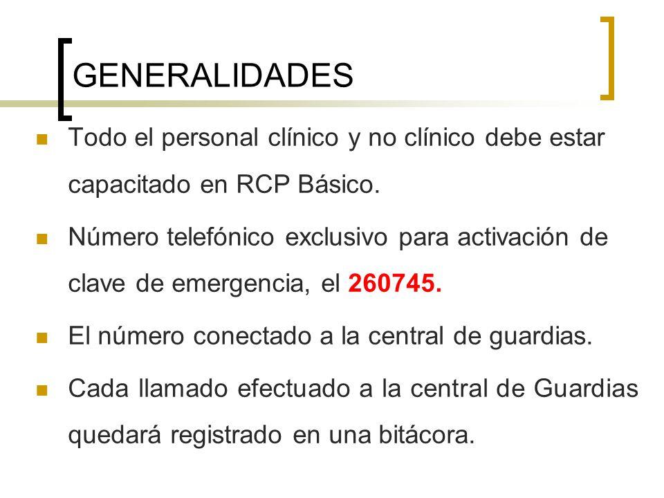 GENERALIDADES Todo el personal clínico y no clínico debe estar capacitado en RCP Básico. Número telefónico exclusivo para activación de clave de emerg