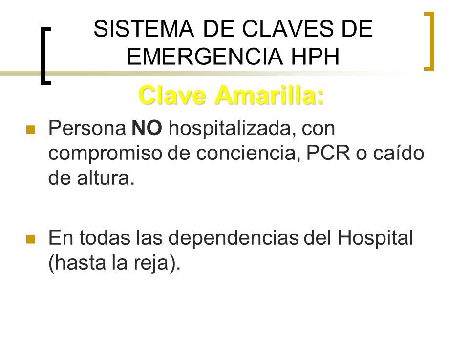 SISTEMA DE CLAVES DE EMERGENCIA HPH Clave Amarilla: Persona NO hospitalizada, con compromiso de conciencia, PCR o caído de altura. En todas las depend