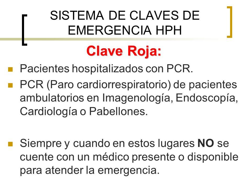 Clave Roja: Pacientes hospitalizados con PCR. PCR (Paro cardiorrespiratorio) de pacientes ambulatorios en Imagenología, Endoscopía, Cardiología o Pabe