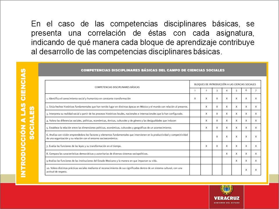 En el caso de las competencias disciplinares básicas, se presenta una correlación de éstas con cada asignatura, indicando de qué manera cada bloque de
