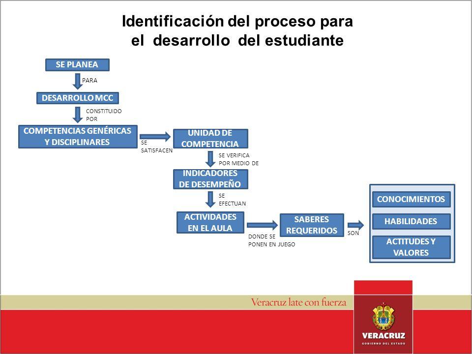 Identificación del proceso para el desarrollo del estudiante SE PLANEA PARA DESARROLLO MCC CONSTITUIDO POR COMPETENCIAS GENÉRICAS Y DISCIPLINARES SE S