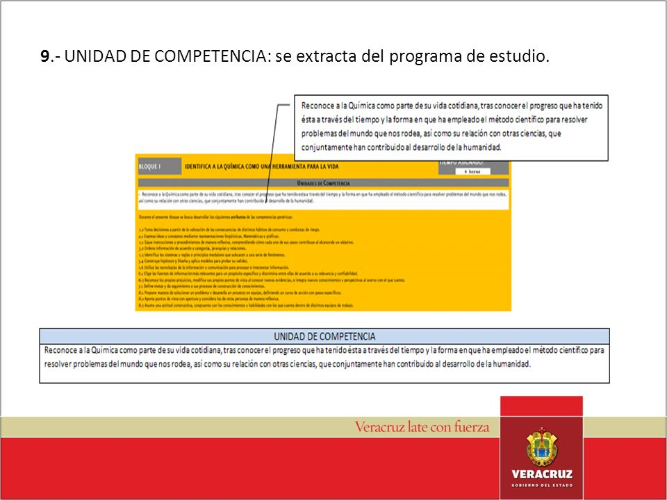 9.- UNIDAD DE COMPETENCIA: se extracta del programa de estudio.
