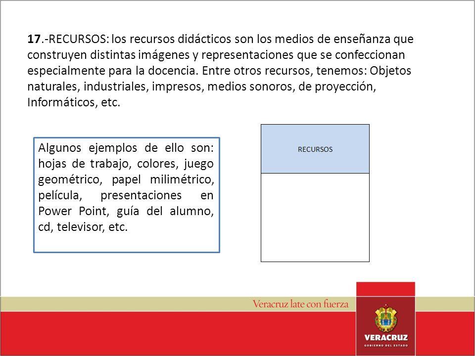 17.-RECURSOS: los recursos didácticos son los medios de enseñanza que construyen distintas imágenes y representaciones que se confeccionan especialmen