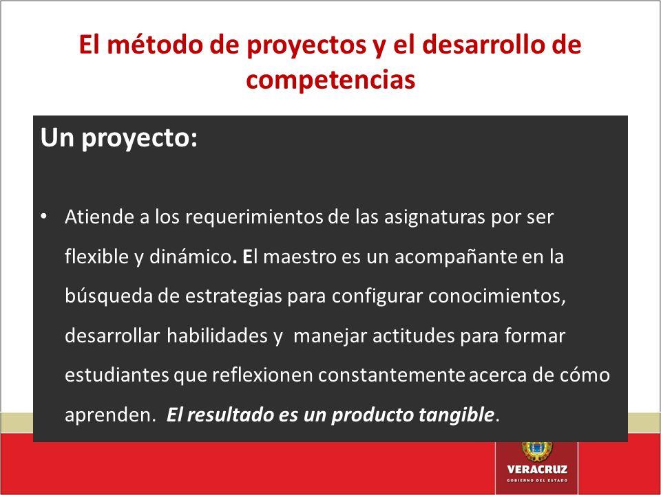 El método de proyectos y el desarrollo de competencias Un proyecto: Atiende a los requerimientos de las asignaturas por ser flexible y dinámico. El ma