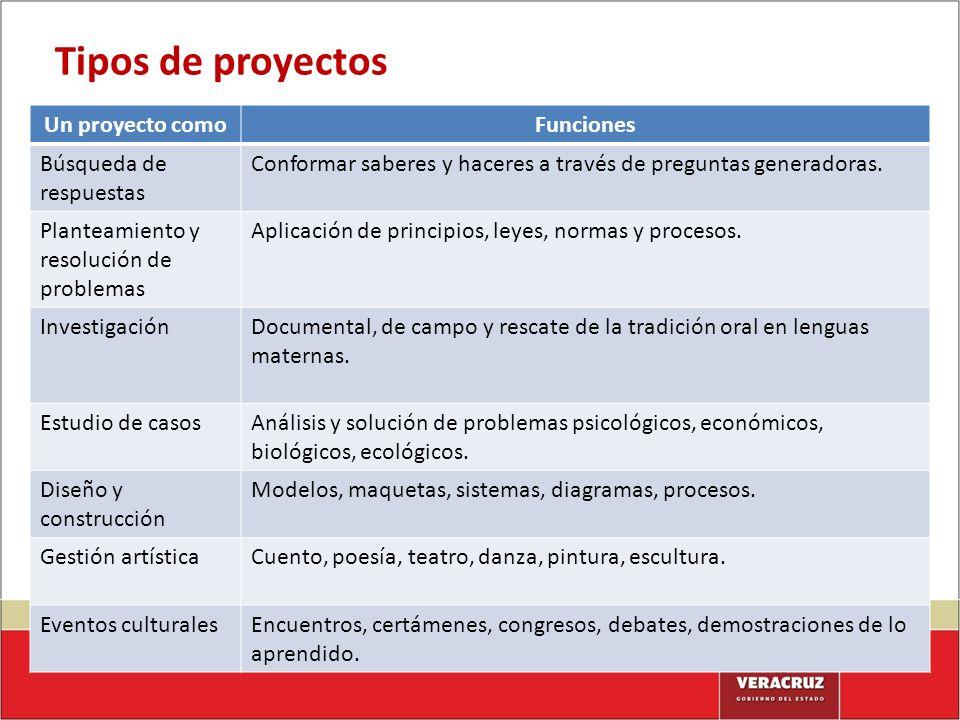 Tipos de proyectos Un proyecto comoFunciones Búsqueda de respuestas Conformar saberes y haceres a través de preguntas generadoras. Planteamiento y res
