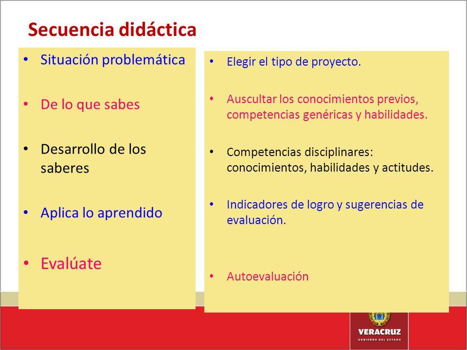 Secuencia didáctica Situación problemática De lo que sabes Desarrollo de los saberes Aplica lo aprendido Evalúate Elegir el tipo de proyecto. Ausculta