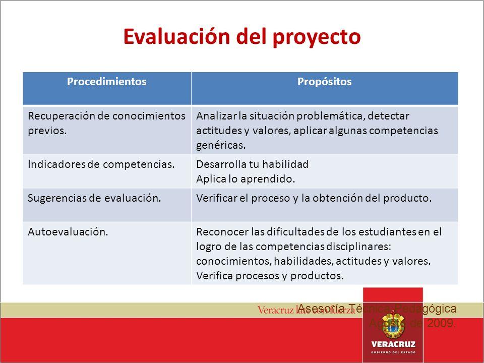 Evaluación del proyecto ProcedimientosPropósitos Recuperación de conocimientos previos. Analizar la situación problemática, detectar actitudes y valor
